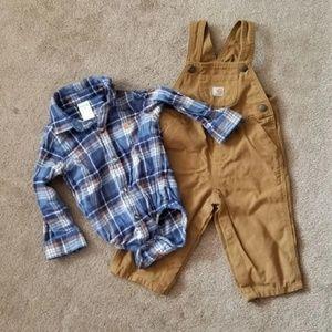 Boy Carhartt Overalls outfit 12 months